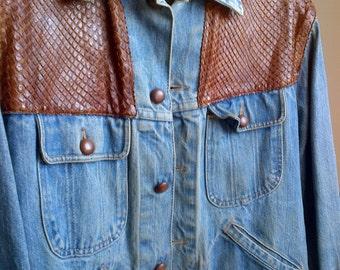 Vintage Denim Jacket With Brown Leather Panels