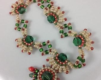 Seed Bead Necklace (beadweaving - forest green, cream, terracotta,  orange)