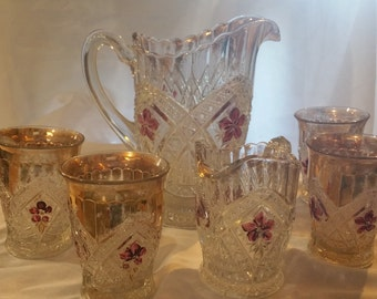 Early American Pattern Glass Pitchers and Tumblers Amethyst Daisy Painted