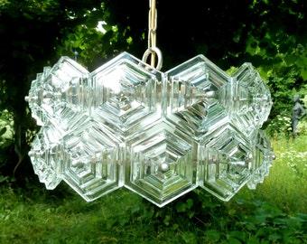 1 of 10 Clear Glass GERMAN BALLROOM CHANDELIER Pendant Lamp 1960s 1970s 60s 70s