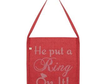 He Put A ring On It Rhinestone Tote Bag