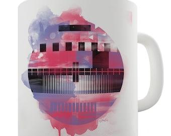 Red and Blue Geometry Ceramic Novelty Gift Mug