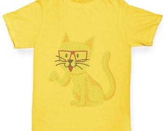 Girl's Nerdy Hipster Cat Rhinestone T-Shirt