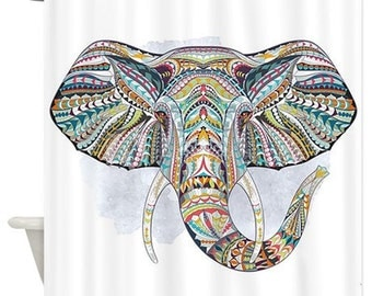 boho chic colorful tribal elephant shower curtain home decor boho bathroom home decor elephant