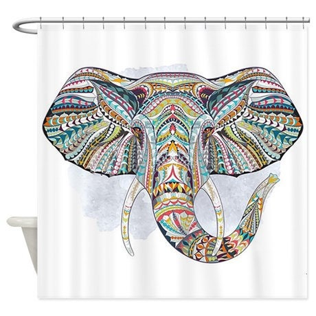 Boho chic colorful tribal elephant shower curtain home decor Colorful elephant home decor