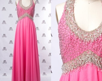 1960s Empire Waist Pink Chiffon Gown with Fully Beaded Bodice