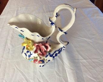 Vintage 1960's Multi Floral Capodmonti Porcelain Pitcher