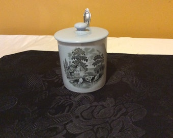 Country England Vintage Sugar Bowl With Lid And Silver Plate Spoon