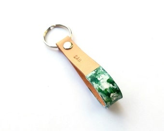 Hunter Green Splattered Paint Leather Keychain, Gifts For Her, Gifts For Him, Leather Keychain, Customized Leather Keyfob, Custom Gifts