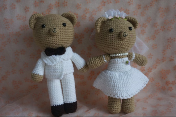 Knitted Wedding Gifts: Knitted Wedding Bear Toy Wedding Couple Dollswedding Gift