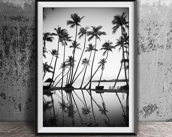 black and white photography palm trees print tropical print ocean print palm print coastal art beach wall art b w beach print 120