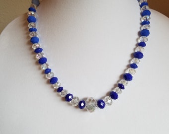 Set: Blue and Clear/Iridescent Glass Bead Necklace Set