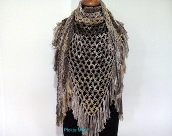 Beige brown crochet shawl,triangular shawl, summer shawl,cotton shawl,handmade shawl,triangle lacy scarf, lacy shawl with fringe