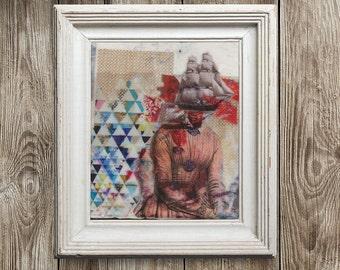 ShipHead Mixed Media Print, Art Print, Original artwork, Collage