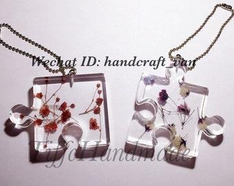 Handmade pressed flower puzzle keychain