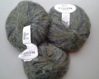 "Mohair blend yarn On Line ""Linie 198, DELICIA"" soft heather shades of dusty green"