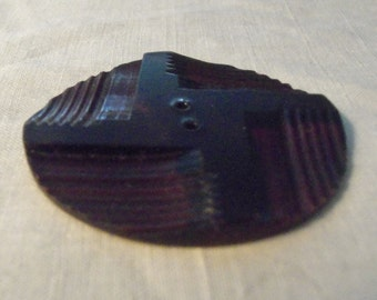 Large Carved Celluloid Button Vintage  Dark Brown