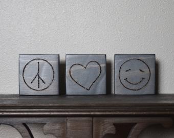 Peace, Love, Happiness Decor, Peace Love Happiness Blocks, Woodburned