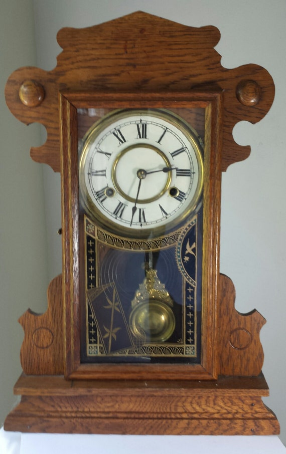 Antique tiger oak mantle clock with key works well steampunk - Steampunk mantle clock ...