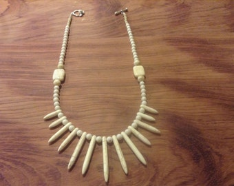 White Magnesite Natural Stone Gemstone Necklace on Sterling Silver, One of a kind