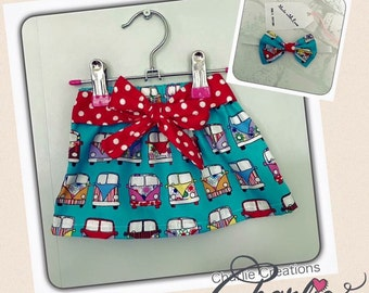 Campervan Sash Skirt With A Match Bow Headband - Age 3-6 months