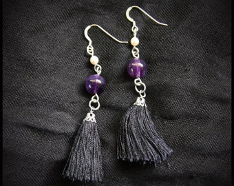 Amethyst Bead and Black Tassel Dangle Drop Earring with Swarovski Pearl Fall or Winter Wedding Bride Bridesmaid Jewelry Gift Purple & Black