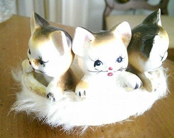 Three Little Kittens Ceramic with Fur Lining