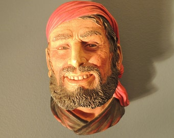 Vintage Pirate Head, Made in England, Signed by artist, F Wright.  Nautical decor