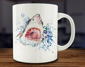 Shark Mug, Watercolor Shark Coffee Mug, Kitchen Art (A267-rts)
