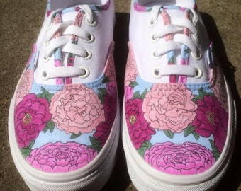 Custom Wedding Shoes - Vans or Keds - Floral Hand-Drawn Design - KIDS