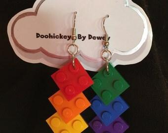 Lego Rainbow Earrings