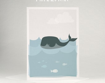 Greeting card - baby whale
