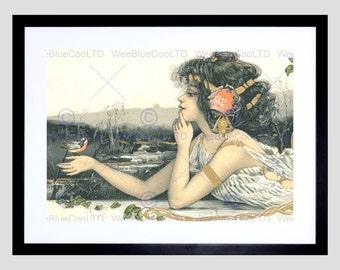 Painting Nouveau Woman Bird Robin Spring Fine Art Print Poster FEBB8577