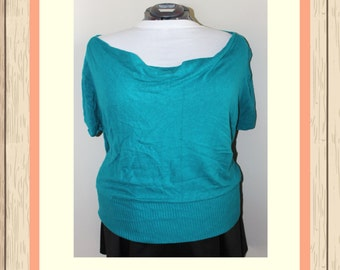 Teal Cowl-Neck Top