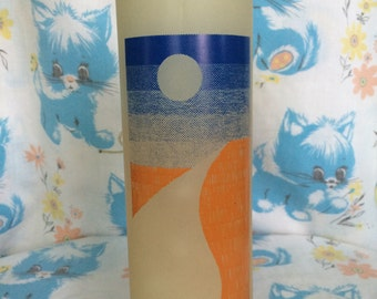 Vintage sunset candle - orange and blue sunset - retro - clear wax