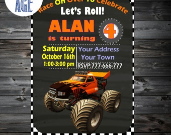 MONSTER Truck Invitation,Monster Truck Birthday,Monster Truck Party Invitation,Monster Truck Party,Monster Truck