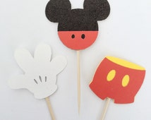 Mickey Cupcake Toppers, Party Decorations, Disney Toppers, Disney Cupcake Toppers, Mickey Ears, Mickey Cupcakes, Glitter Mickey