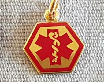 14k Gold Enamel Medic Alert Charm