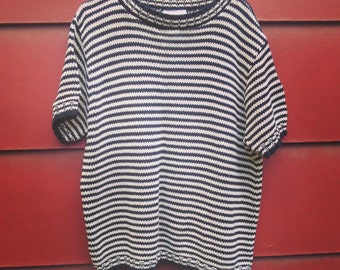 Vintage Cold Water Creek Short Sleeved Sweater, Vintage Striped Pullover