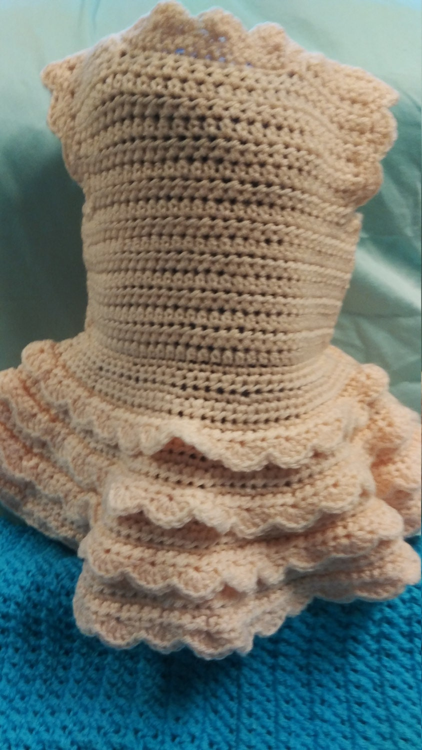 Crochet Baby Dress Peach 3 6 Months Shower Gift