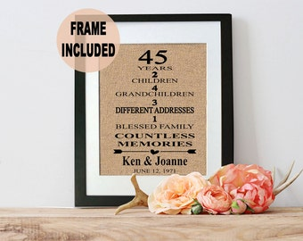 45th Wedding Anniversary Gift/ 45th Anniversary Gift/ 45 Years of Marriage - 45th Anniversary Gift for Parents - Parents Anniversary Gift