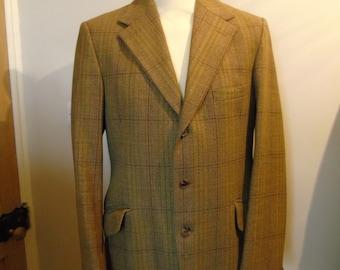 Vintage Austin Reed Men's Green Tweed Jacket Blazer, Size 40L