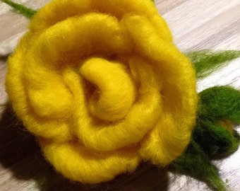 felted brooch / rose/ flower brooche /felted yellow rose/ big yellow rose flower felt