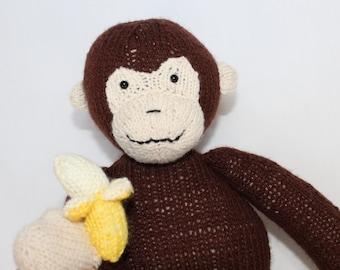 Knitted Monkey, Stuffed Monkey, Monkey Teddy, UK Seller, Stuffed Toy, Knitted Toy, The Knitted ZoOo