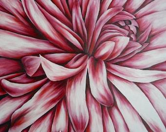 Red Chrysanthemum Oil Painting Print