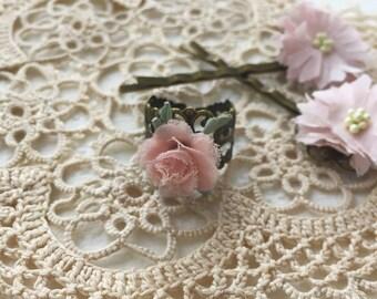 Pink rose filigree ring