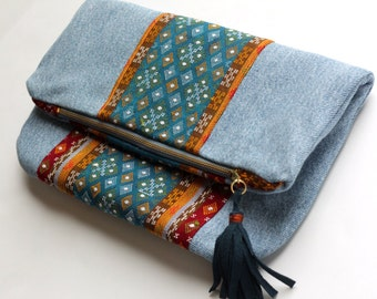 Denim Tribal Clutch, Foldover Medium Clutch, Upcycled Women's Purse, Hipster Jean Bag, Made in NC