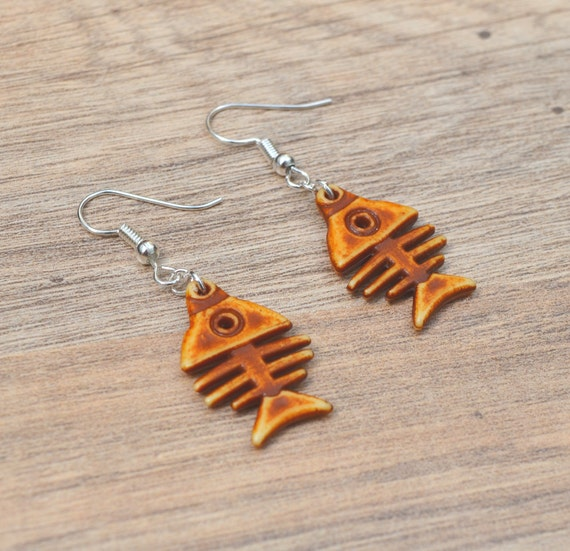 Fish bone earrings fun earrings quirky by beadybellacinderella for Fish bone earrings
