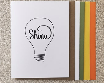 Shine A2 Greeting Card, Typography Print, Motivation, Inspiring Cards, Pep Talk, Monochrome Art