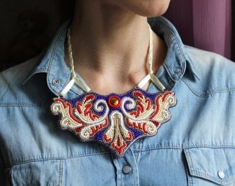 Bead embroidery jewelry hand embroidered bead necklace